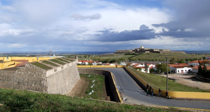 Section of ramparts and one of the star forts that surround Elvas