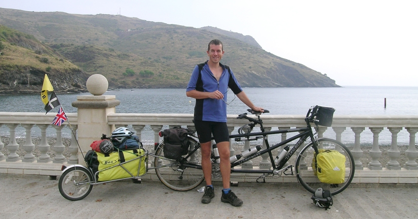 Heading for Portugal - arriving in north-east Spain with tandem and trailer, plus camping gear, four panniers and bar bag