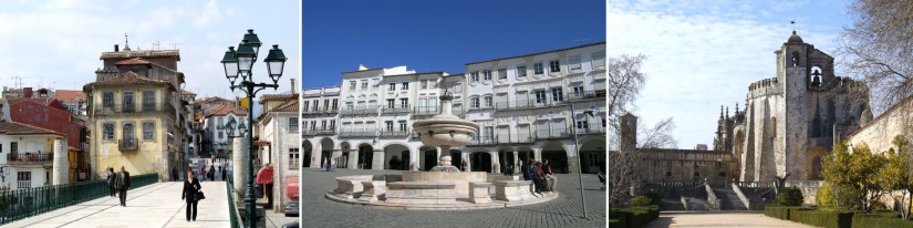 L: The old bridge in Chaves. M: The main square in Evora. R: Tomar's Convent of Christ