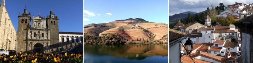 L: Cathedral in Viseu. M: The Douro valley in autumn. R: Castelo de Vide.