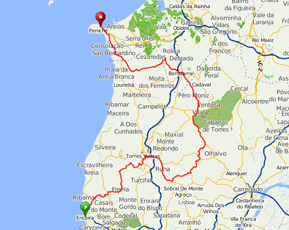 Stage Lisbon To Peniche Pedal Portugal - Portugal map ericeira