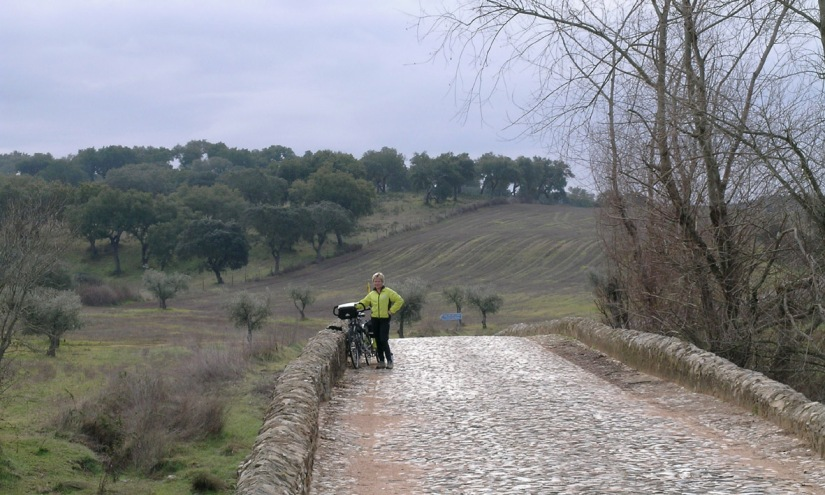 Roman bridge - with cobbles - on road between Beja and Evora