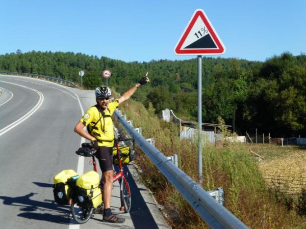 Jim isn't surprised by the gradient but by seeing a warning sign!