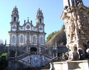 Typical Portuguese-style church front in Lamego
