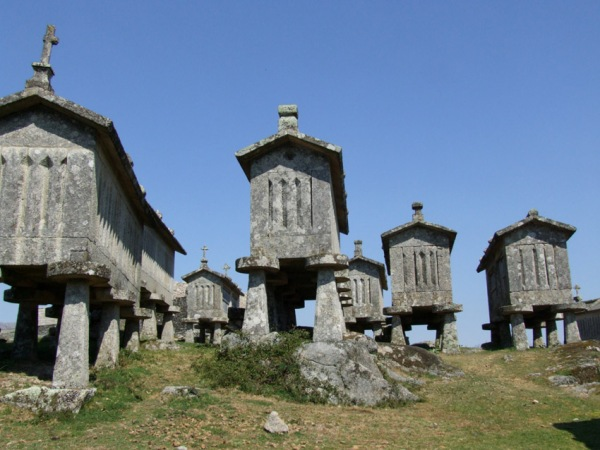 Old espigueiros (granaries) for storing sweetcorn/maize in Lindoso.