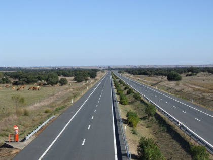 Motorway from Evora towards Spain - taken on a bank holiday weekend.