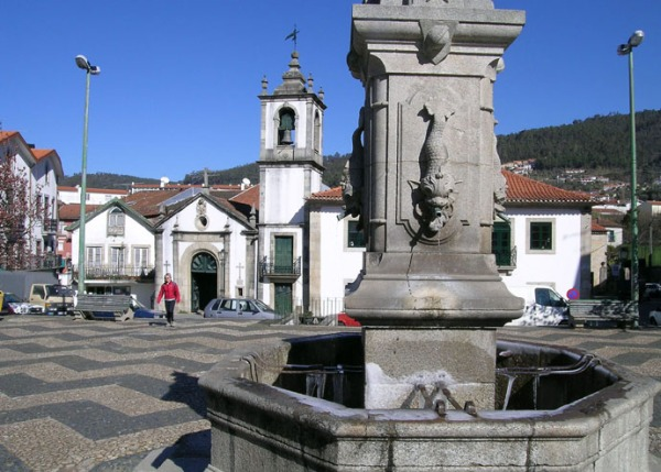 Arouca, a small town in northern Portugal, at the end of February. The skies are blue... but if you look closely you might see the icicles in the fountain!