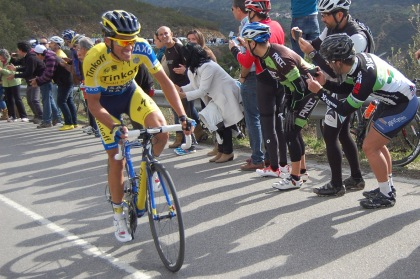 Alberto Contador on his way up during the February 2014 Volta ao Algarve. Pic by Andy Smallwood