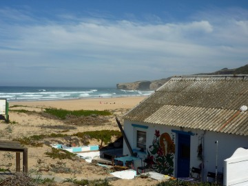 Beach shack at Praia da Monte Clerigo