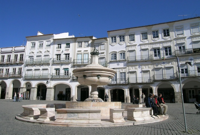 The central square in the World Heritage town of Evora