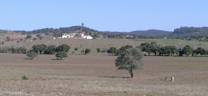 Open fields, olives, cork oaks and whitewashed farm buildings - typical Alentejo scenery