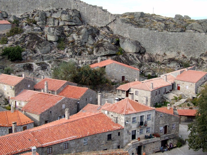 Looking down from the walls into the old part of Sortelha