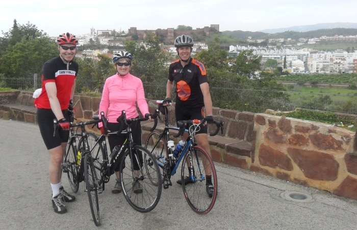 Ian (left) with partner Liz and Algarve resident Andy Smallwood outside Silves
