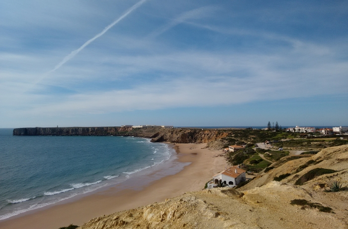 Looking out over Mareta Beach at Sagres