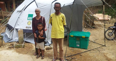 Just one of the many families housed by ShelterBox following a disaster