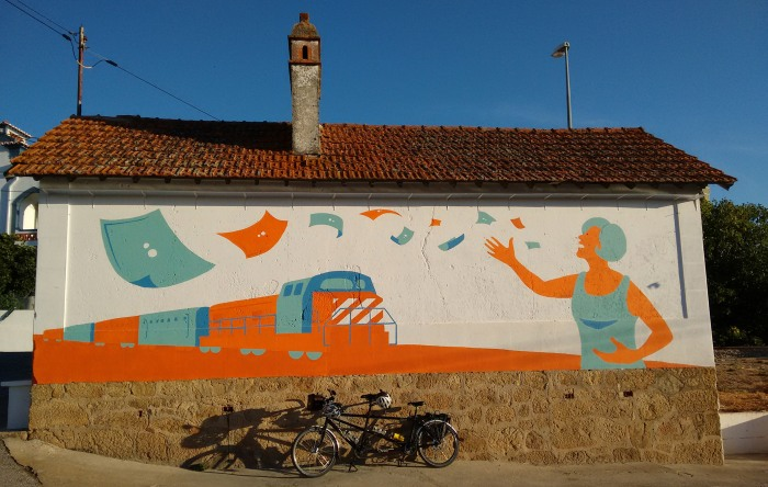 Mural by old station in the small village of Beira